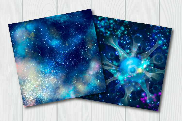 Blue galaxy digital paper. Starry sky background example image 7