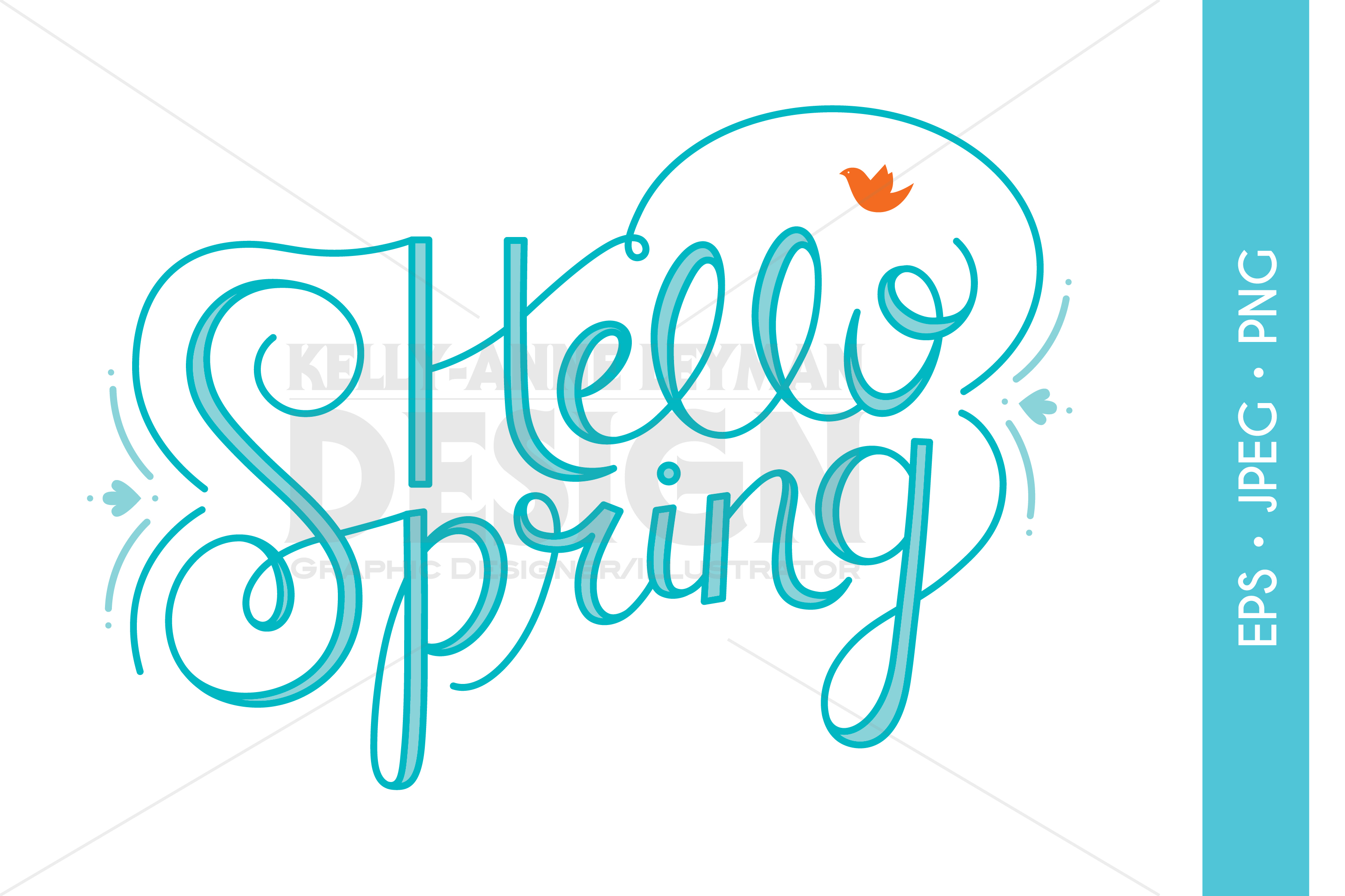 Hello Spring Typography Clipart, Word Clip Art example image 1