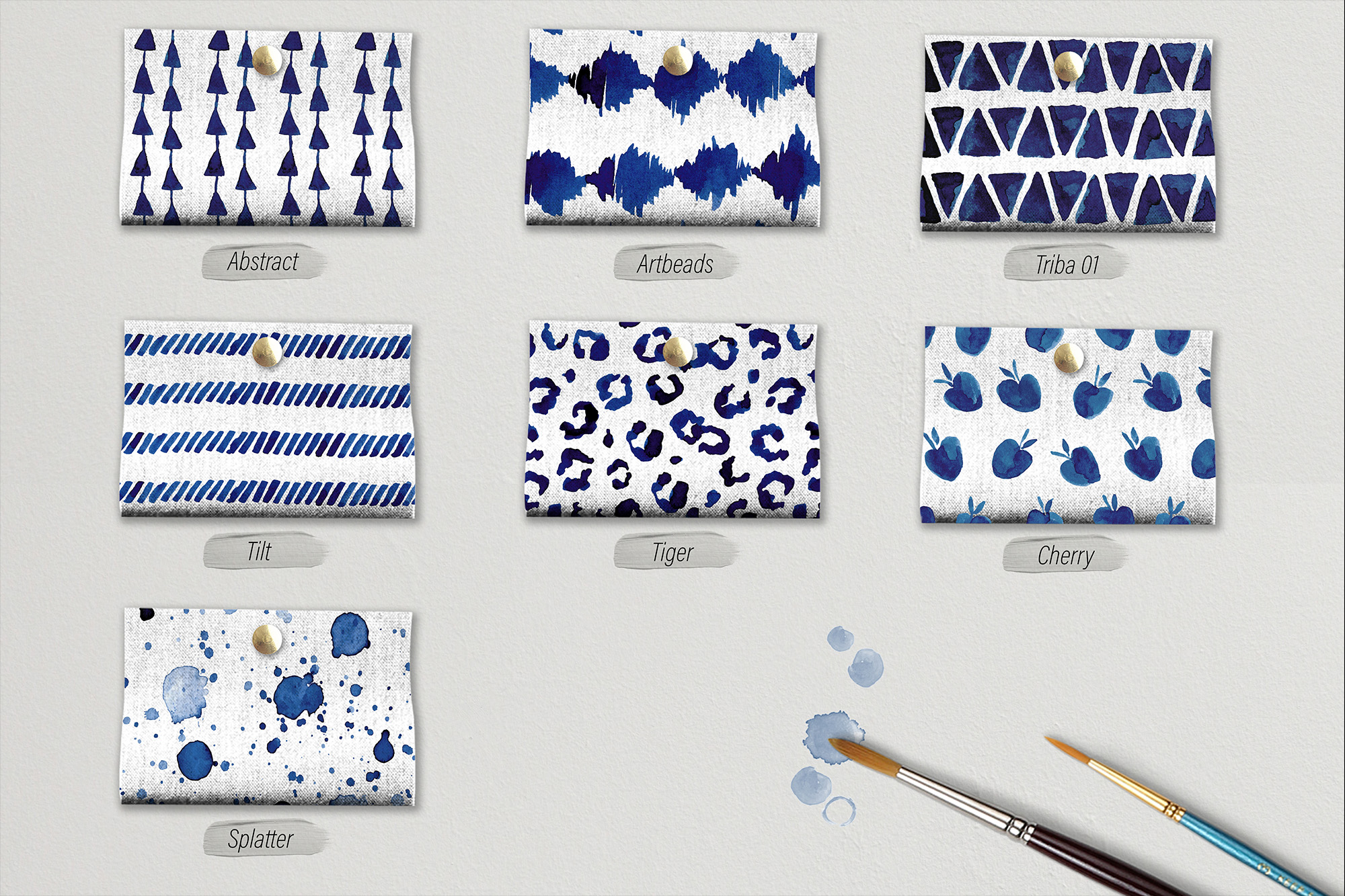Blueberry Watercolor Pattern Collection example image 5