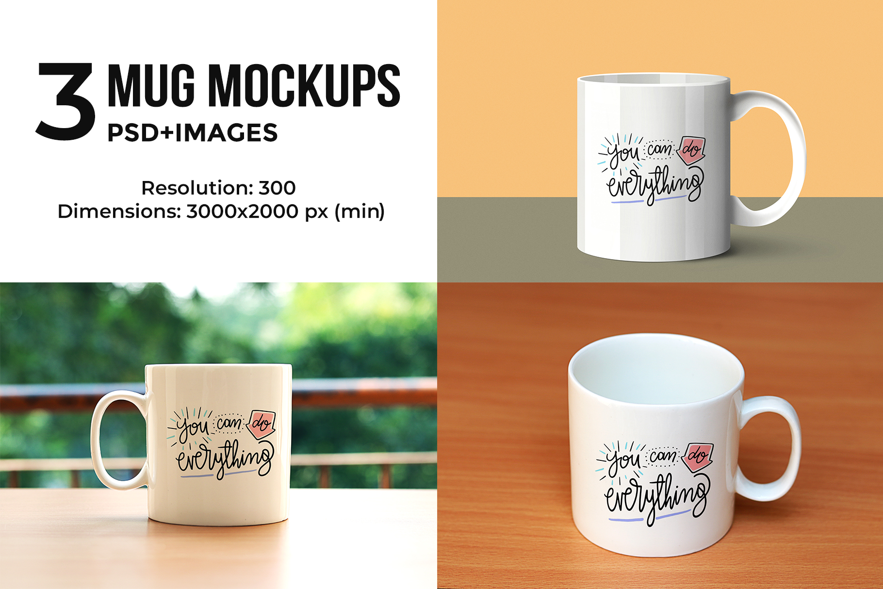 3 Mug Mock-ups example image 1