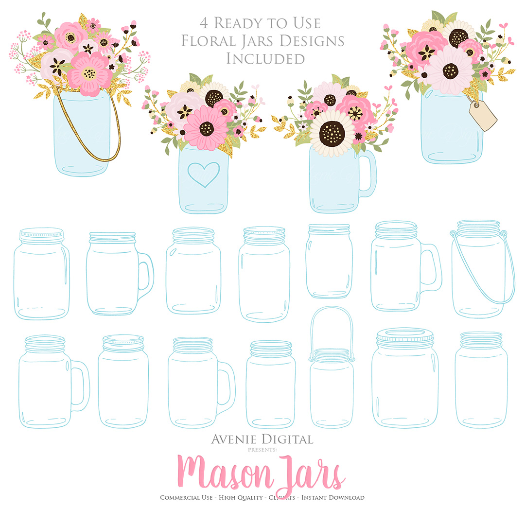 Pink and Gold Mason Jar Floral Wedding Clipart example image 4
