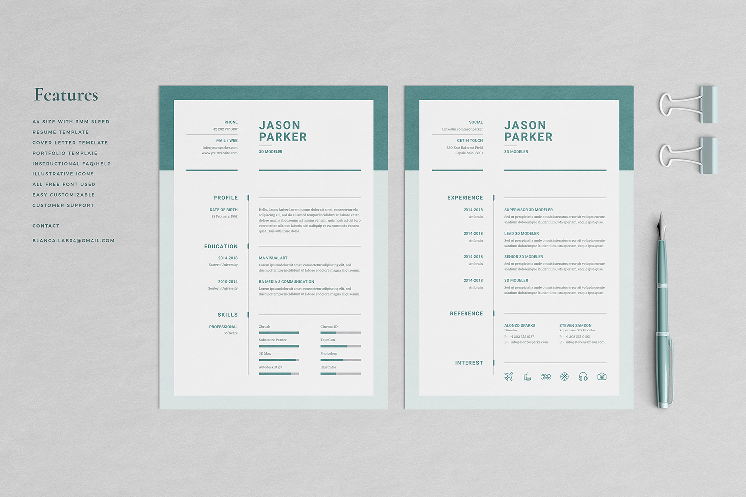 Jason Resume with Cover Letter Professional Template example image 2