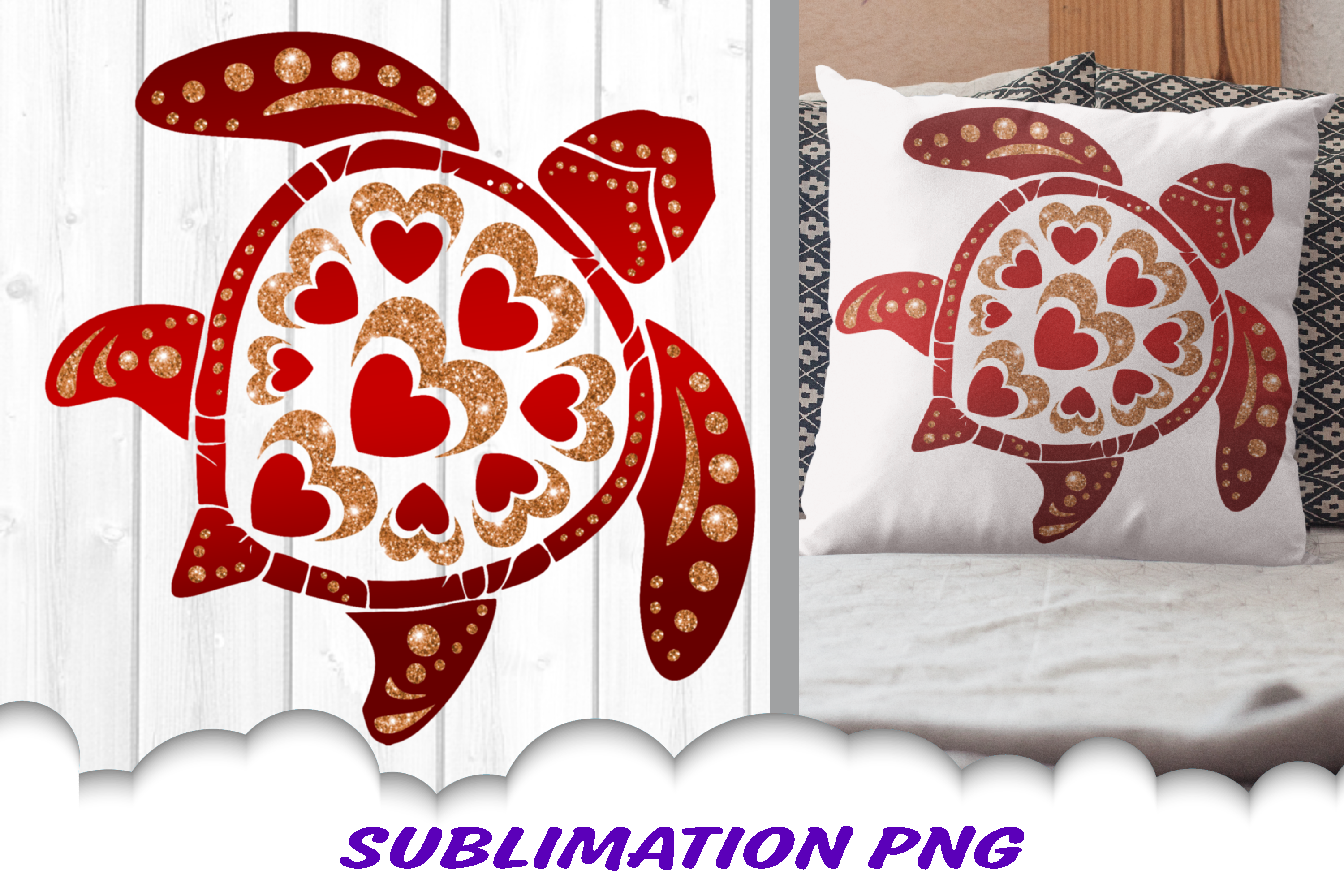 Valentines Day Sea Turtle Hearts Glitter Sublimation PNG example image 1
