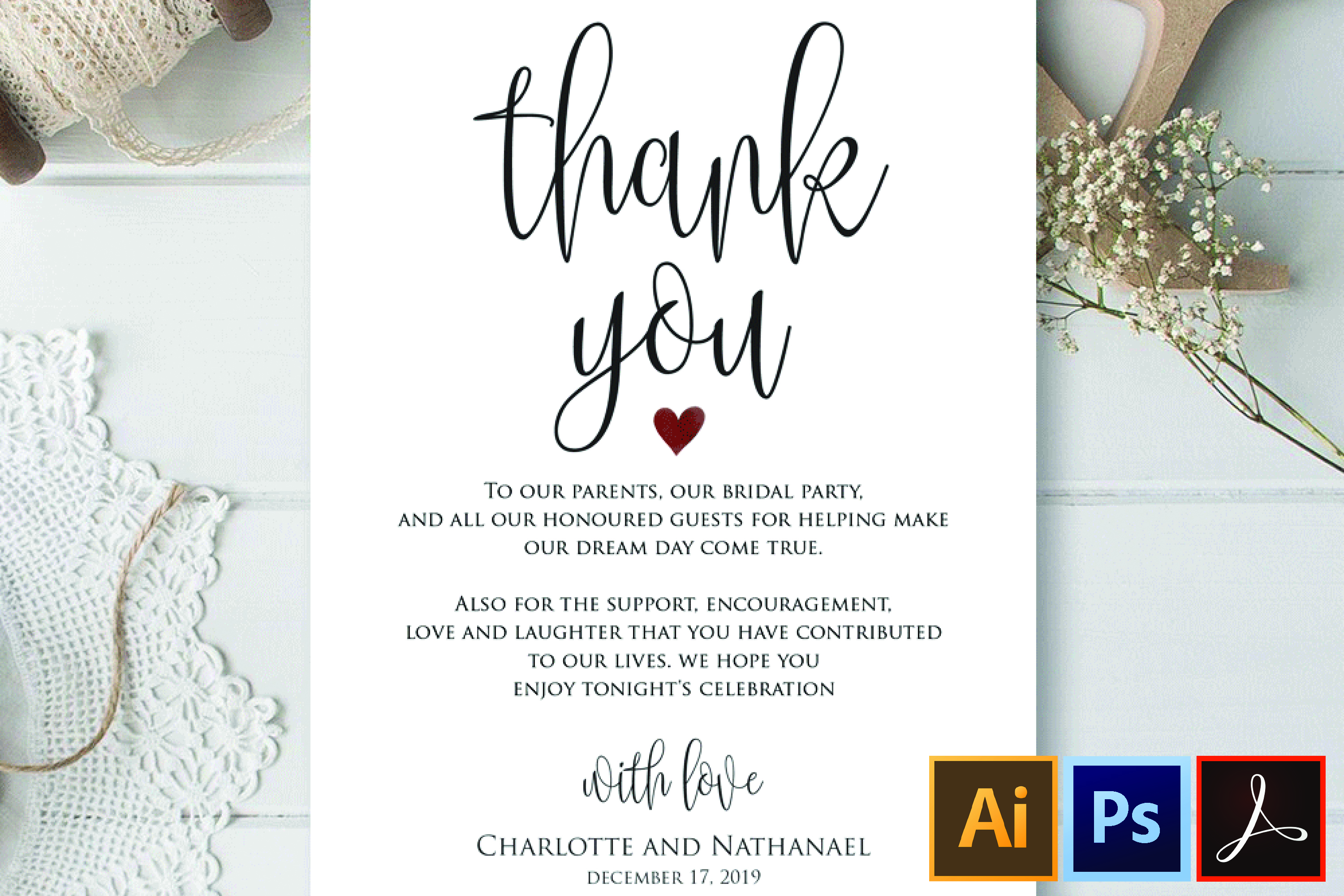 wedding thank you note printable thank you card template
