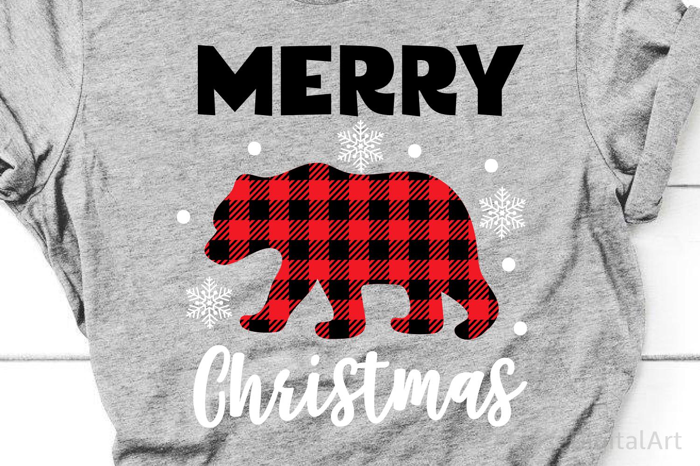 Merry Christmas Svg, Buffalo Plaid Svg, Buffalo Plaid Bear example image 1