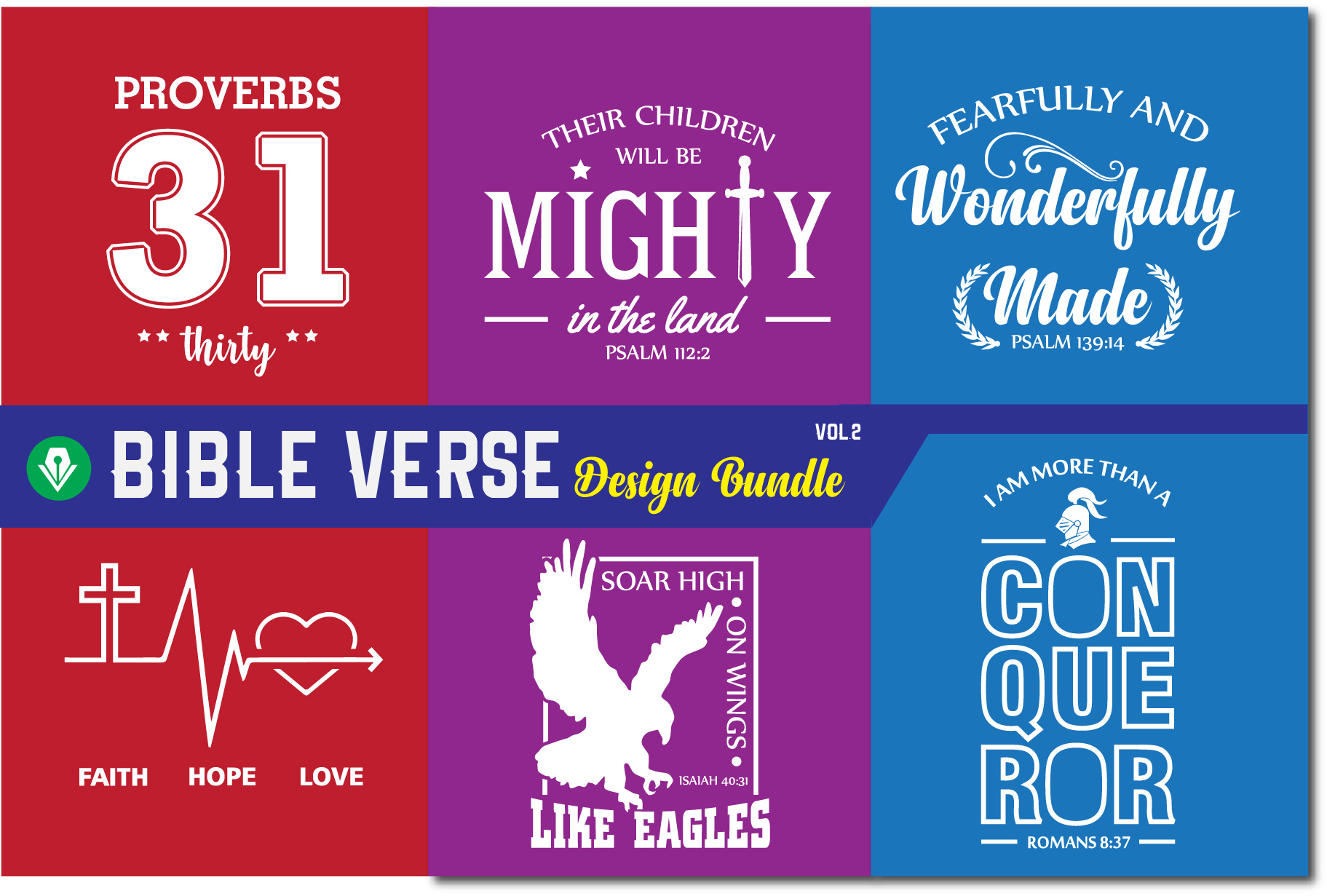 Bible Verse Design Bundle| Christian Svg Cut Files example image 1