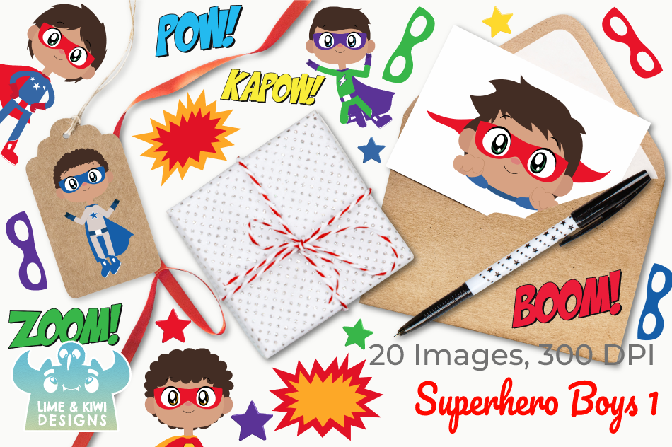Superhero Boys 1 Clipart, Instant Download Vector Art example image 4