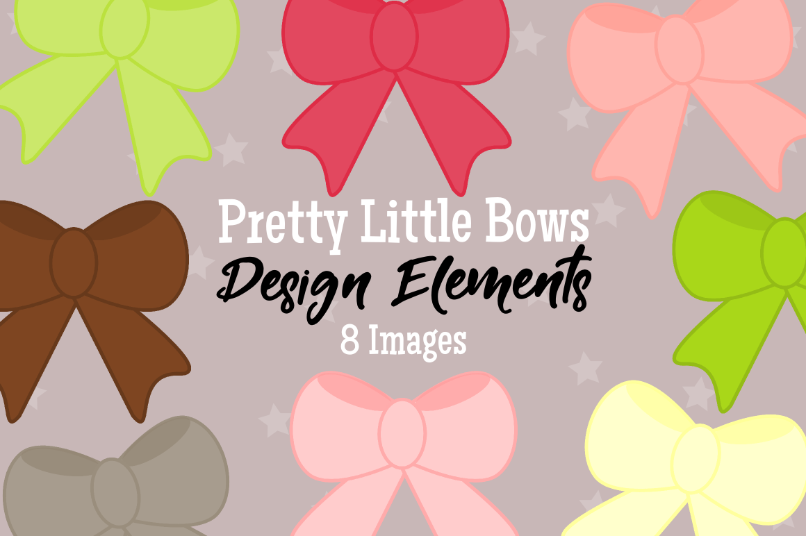 Pretty Little Bows Graphics, Illustrations, Clipart example image 1
