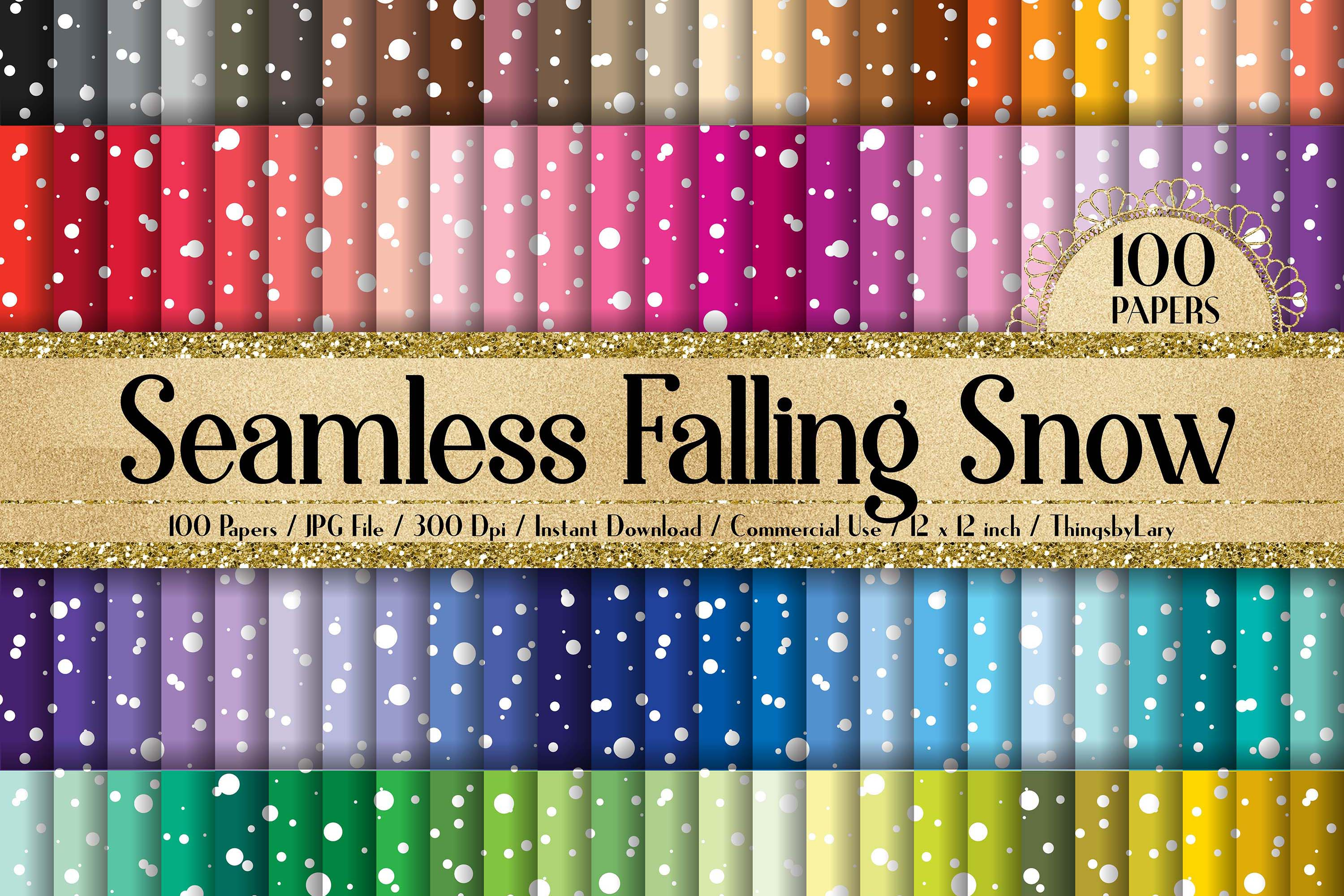 100 Seamless Falling Christmas White Snow Digital Papers example image 1