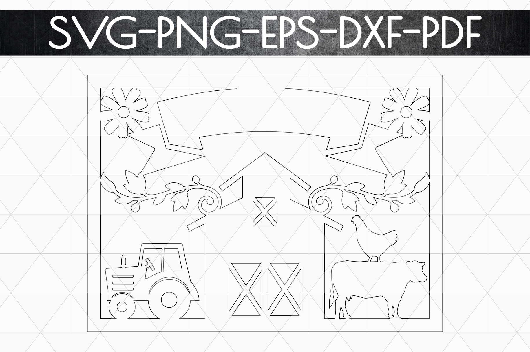 Customizable Farm Papercut Template, Farmhouse Themed, PDF example image 5