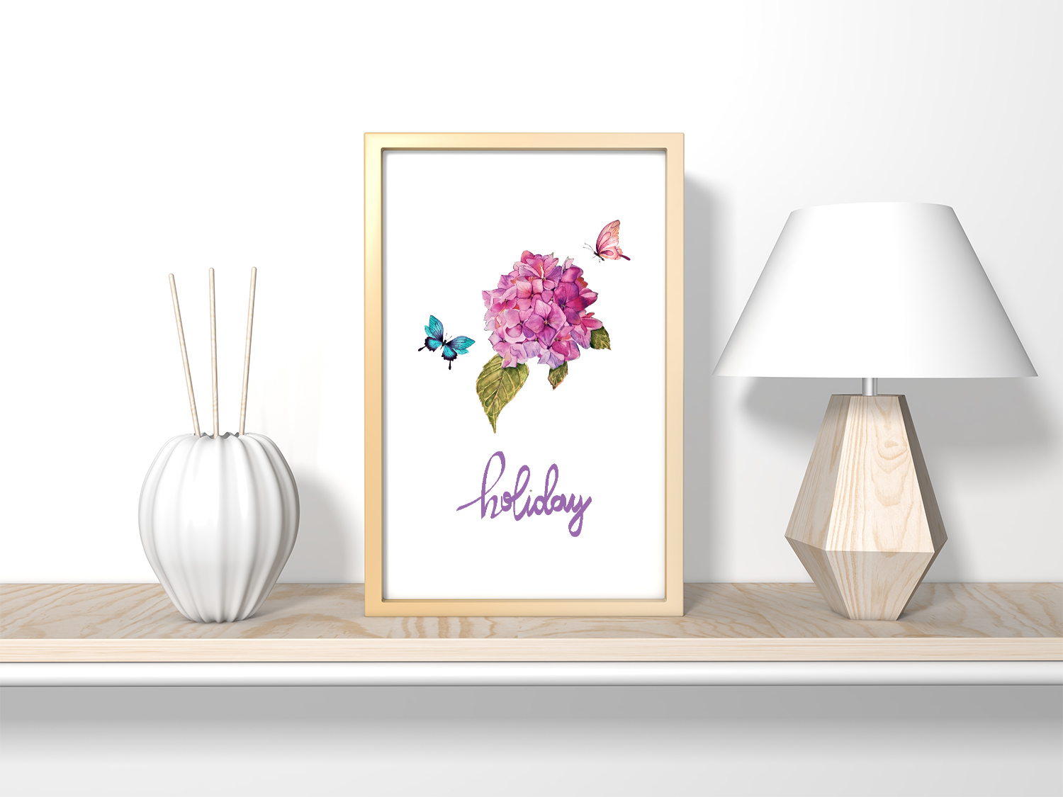 Watercolor clipart of hydrangea, butterflies and teddy toys example image 8
