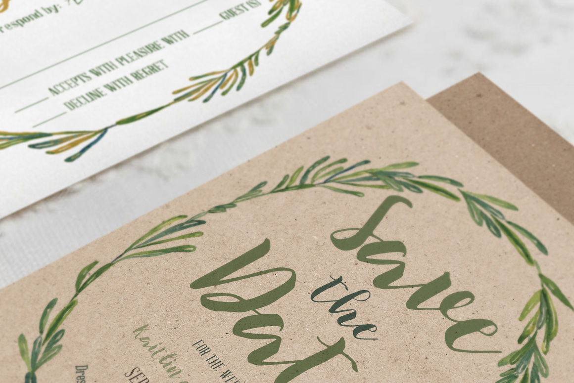 Elegant Wreath Wedding Invitation Suite example image 2