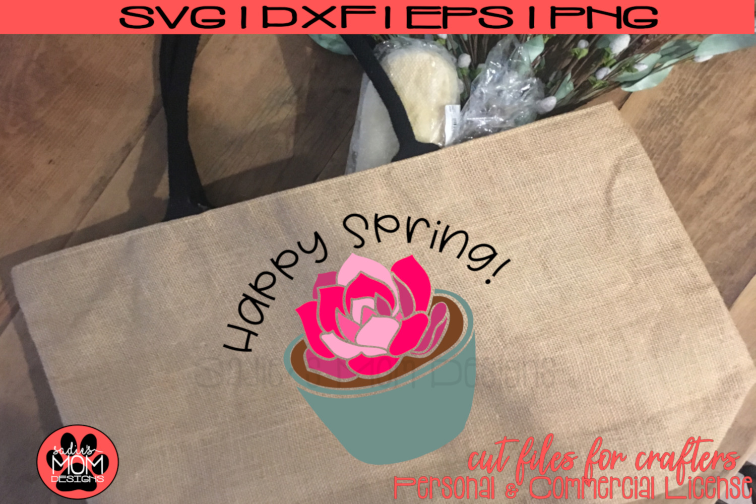 Happy Spring - Potted Flower | SVG Cut File example image 1