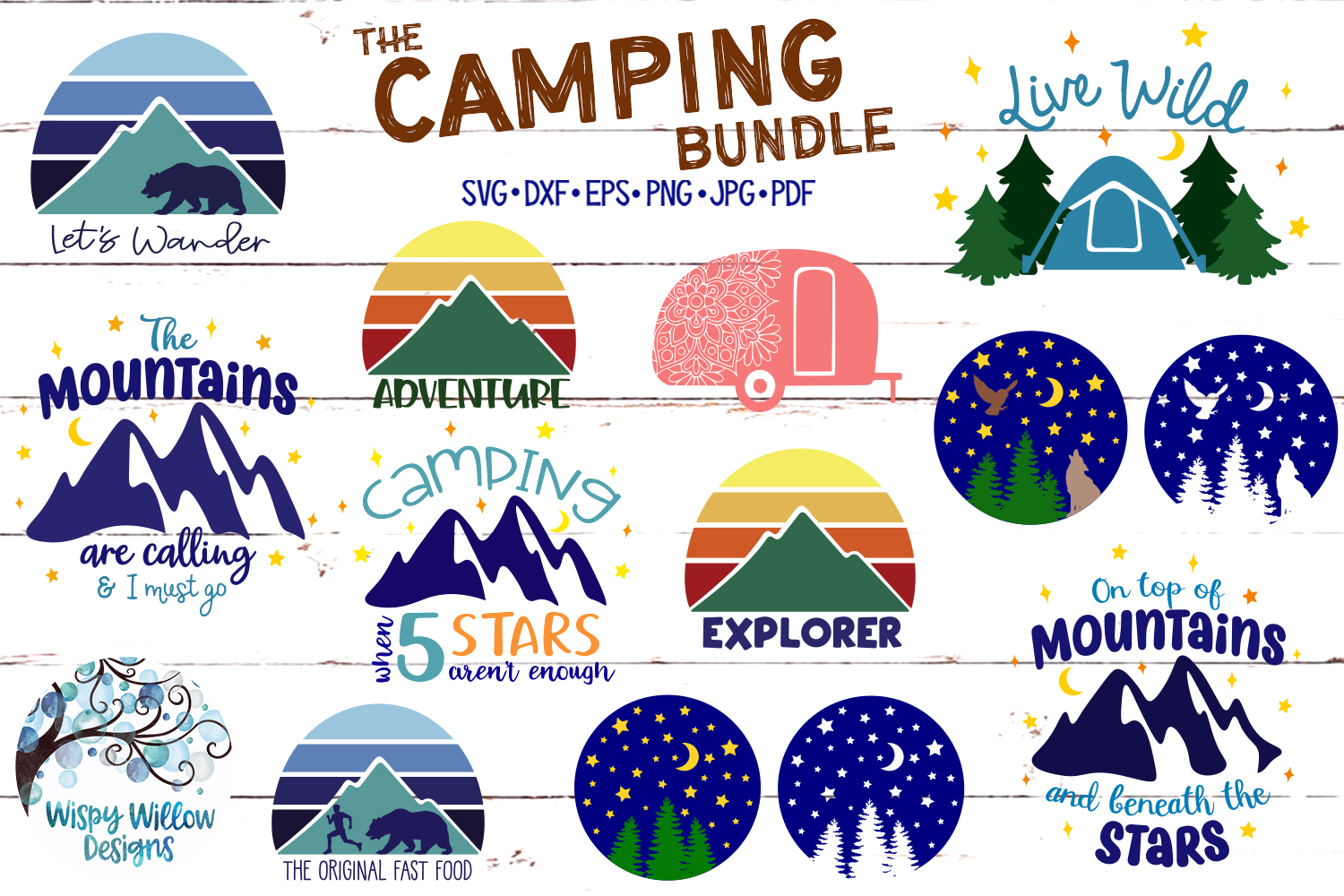 Camping SVG Cut File Bundle | Mountains SVG example image 1