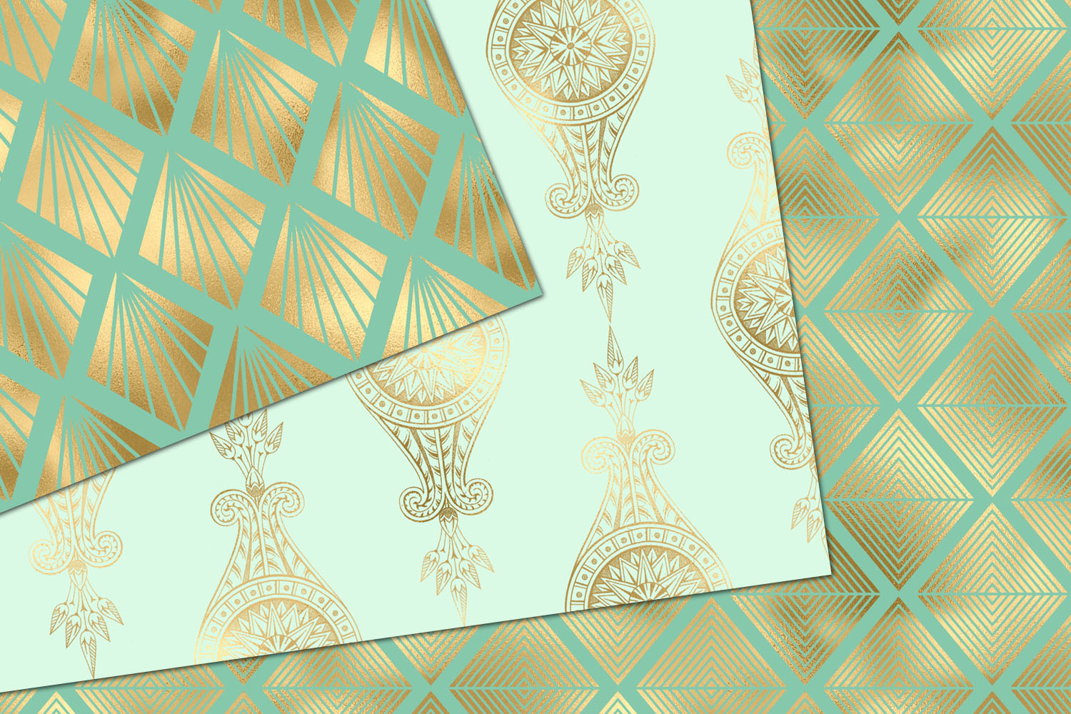 Mint and Gold Art Deco Digital Paper example image 3