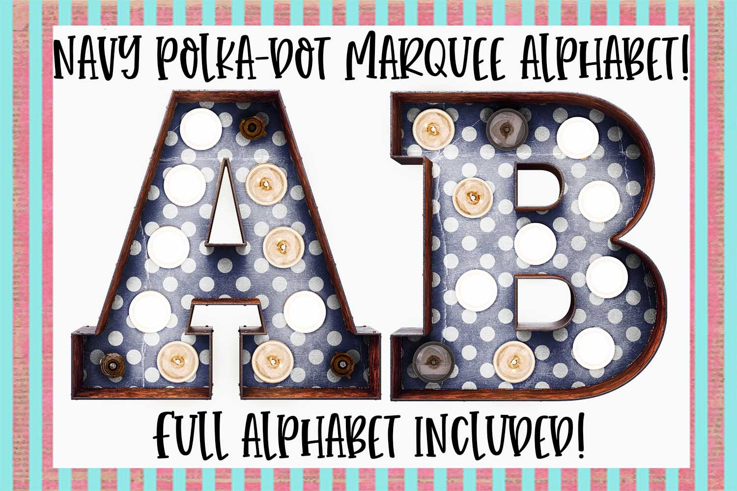Navy Polka-Dot Marquee Sublimation Digital Download example image 1