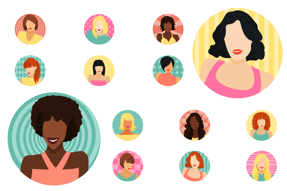 Vector Female avatars set 52 icons example image 1