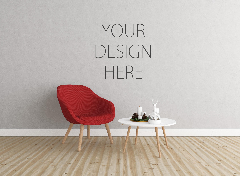 Christmas interior mockup bundle - blank wall mock up example image 1