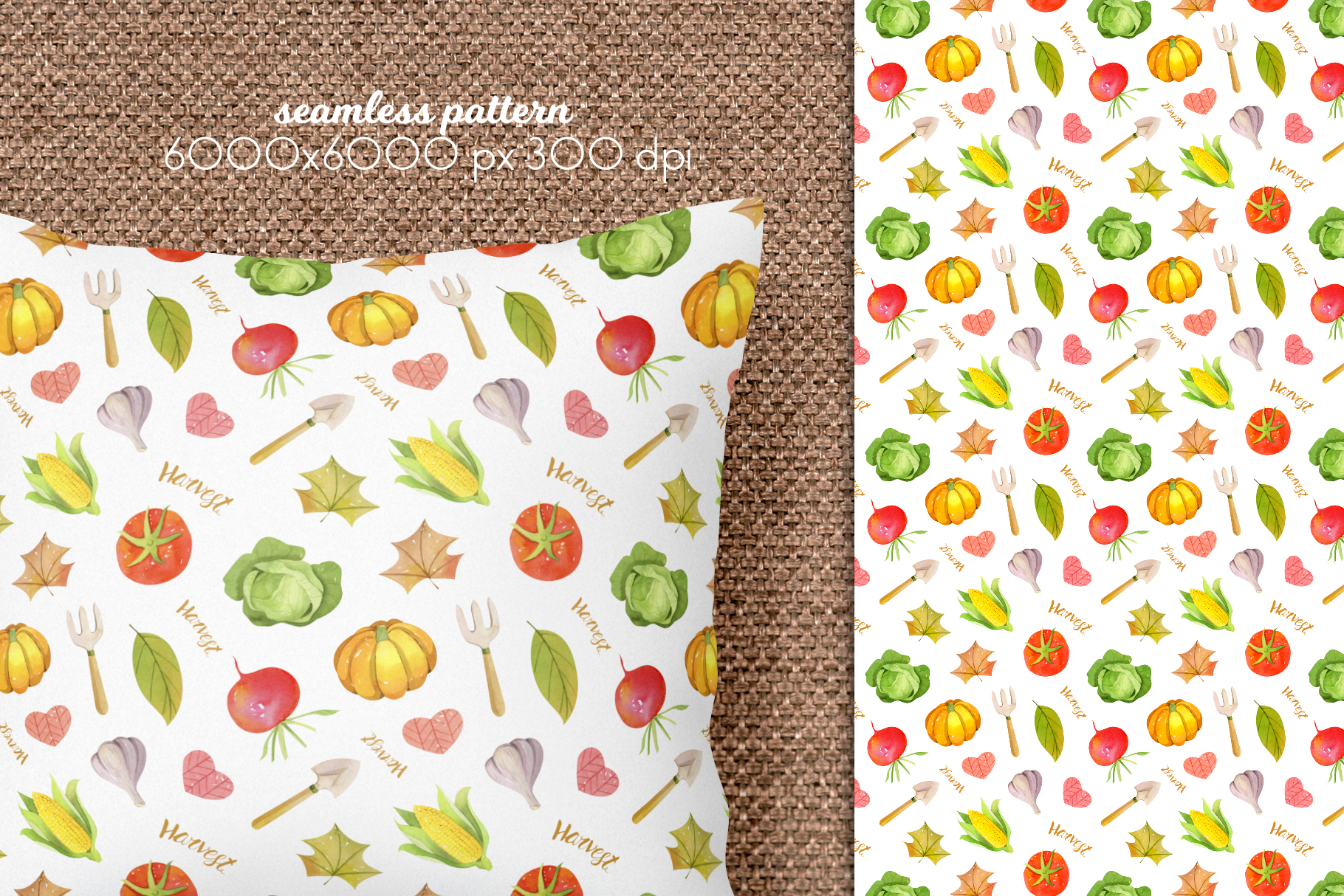 Watercolor Autumn Seamless Patterns Collection example image 6