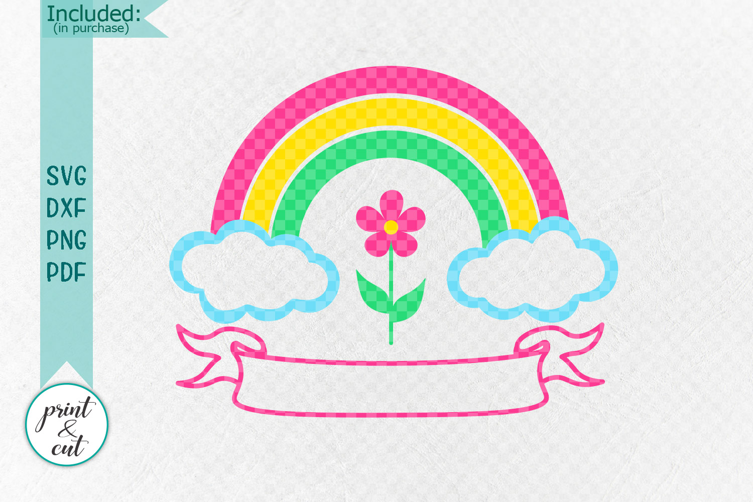 Birthday Rainbow with Ribbon to add name svg dxf to cut file example image 3