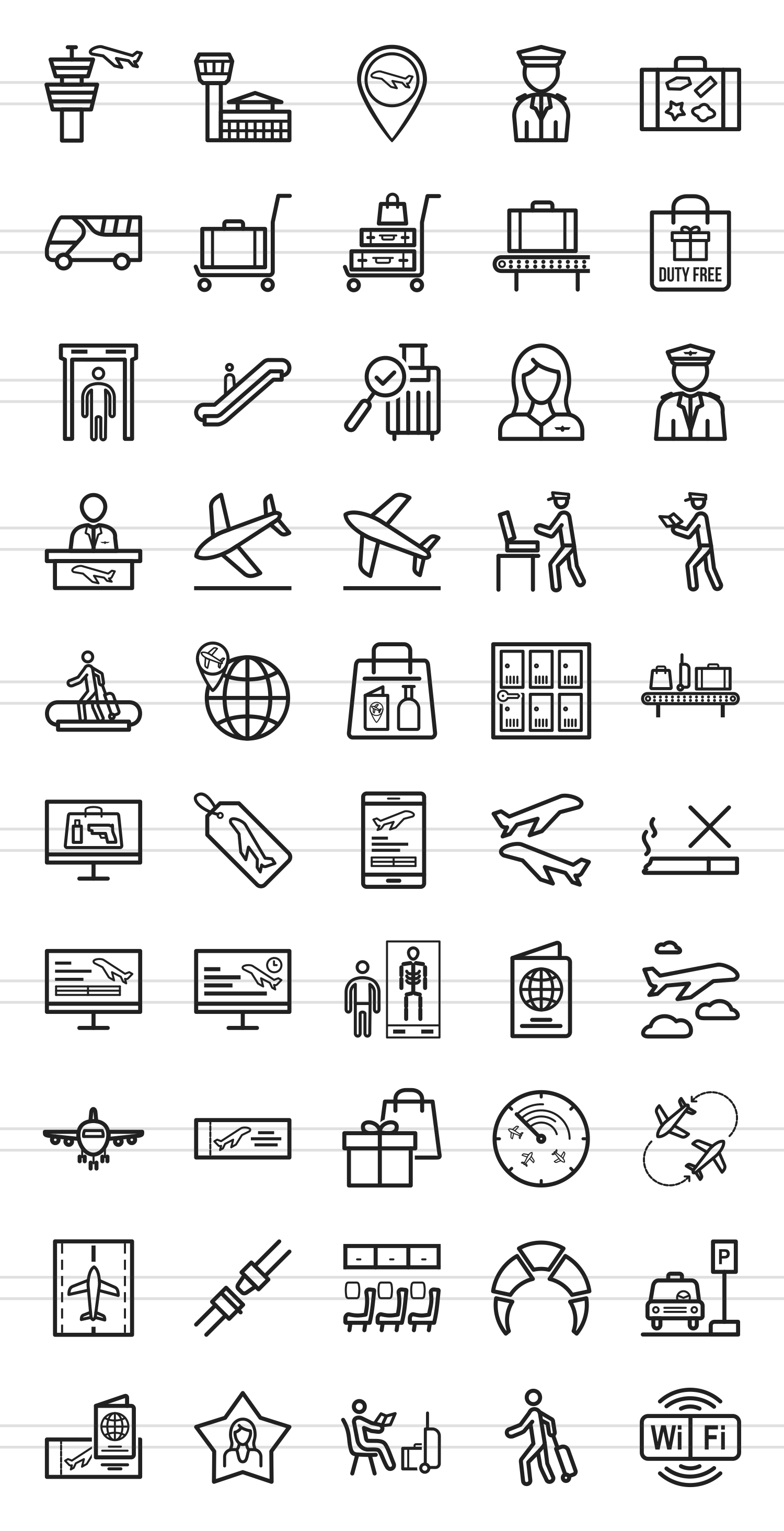 50 Airport Line Icons example image 2