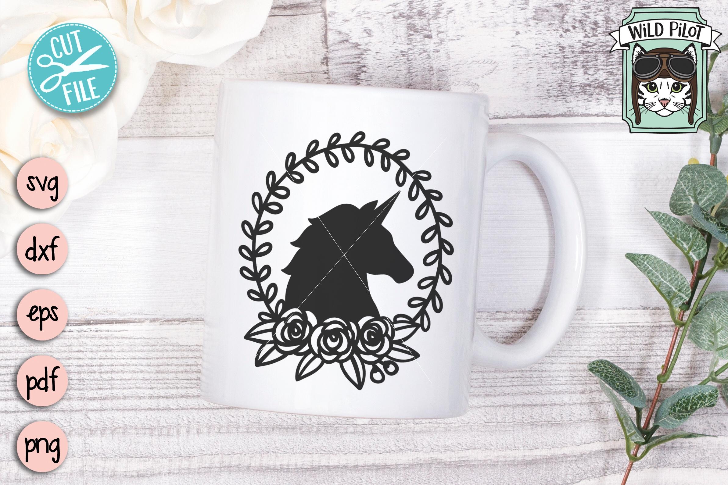 Unicorn SVG file, Unicorn Silhouette, Unicorn Wreath example image 3