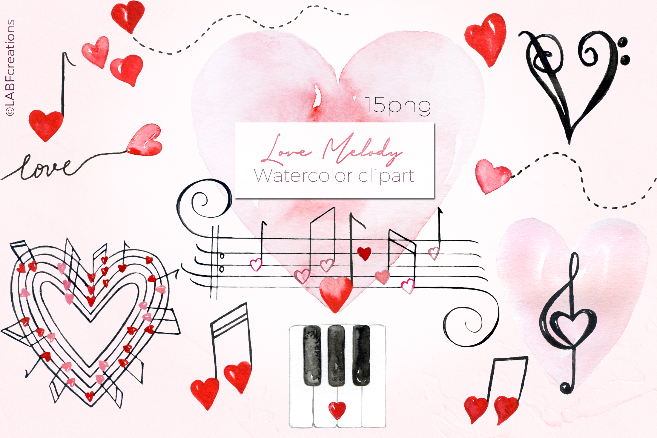 Love melody. Watercolor clipart example image 7