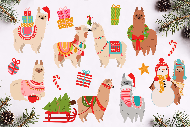 Christmas Alpacas Vector Art example image 2