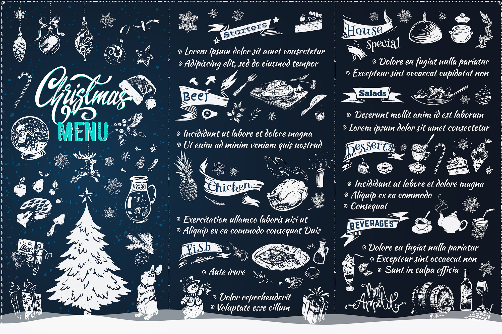 Christmas Menu Design. Hand Drawn Illustrations example image 8
