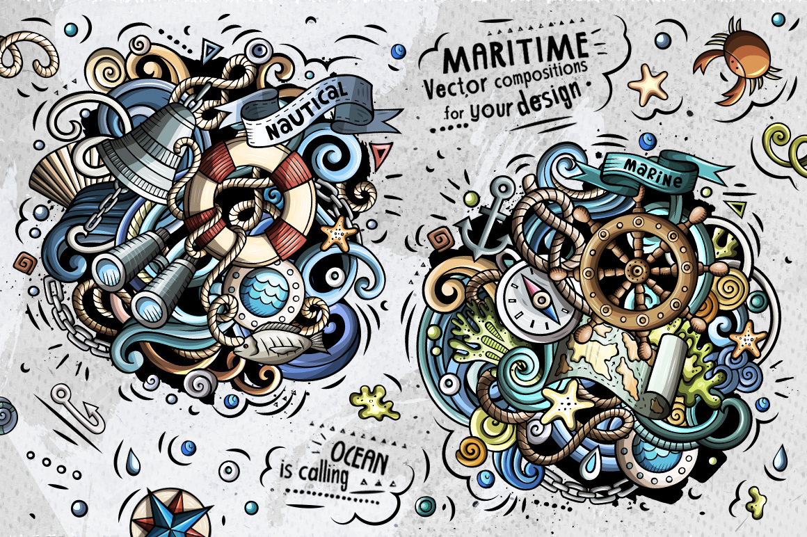 Nautical Cartoon Doodle Big Pack example image 6