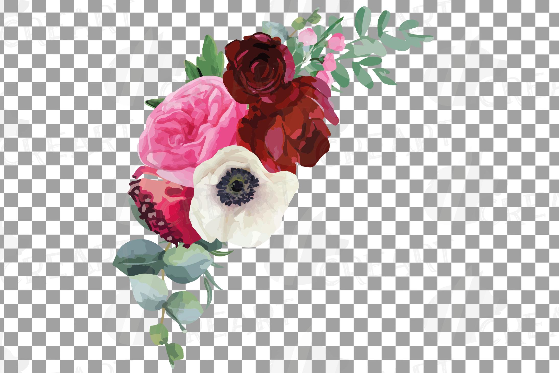 Watercolor elegant floral bouquets, rose, anemone decoration example image 5