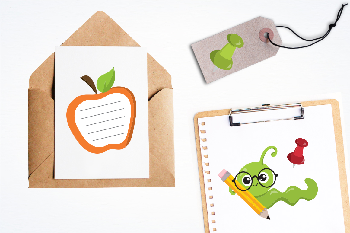 Apple Bookworm graphic and illustrations example image 2
