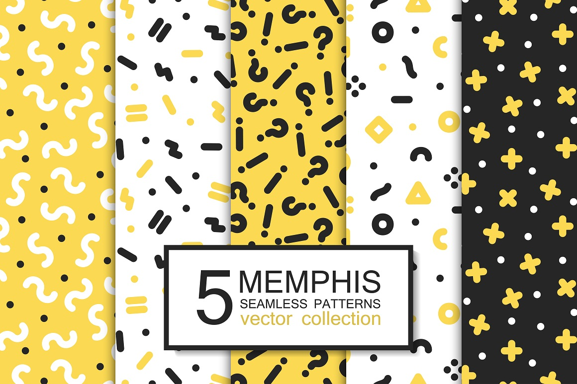 Trendy memphis seamless patterns 90s example image 4
