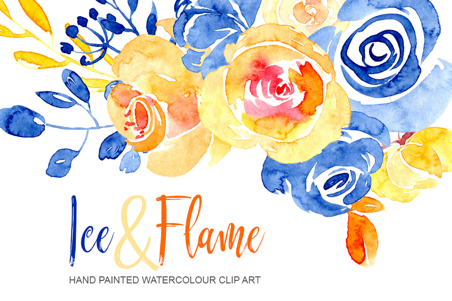 Blue And Orange Watercolor Flowers