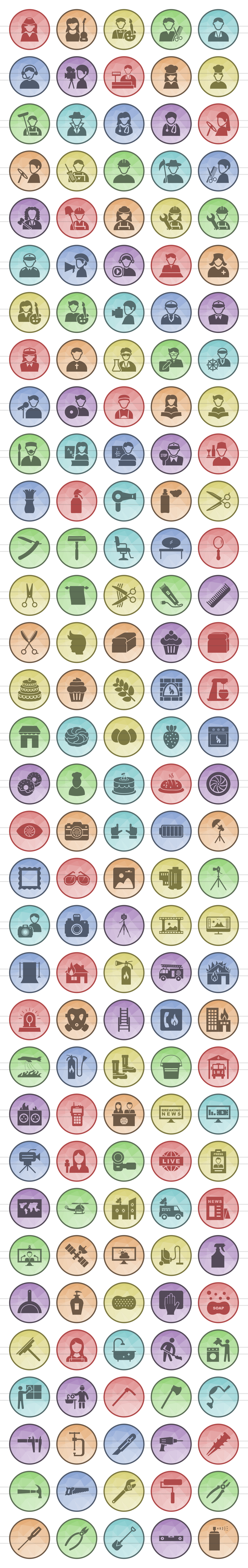 166 Professionals & their tools Filled Low Poly Icons example image 2