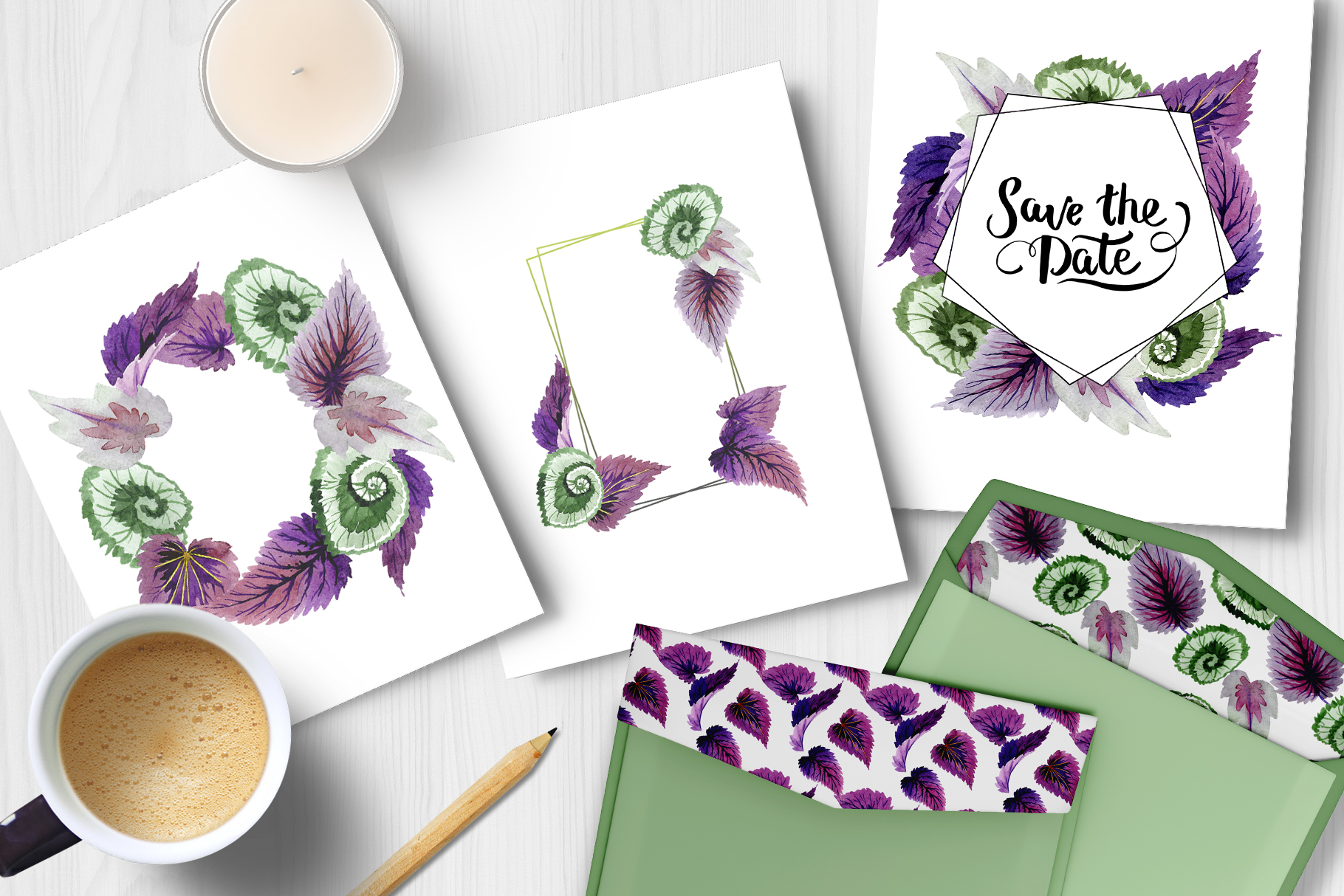 Decorative begonia purple watercolor png example image 4
