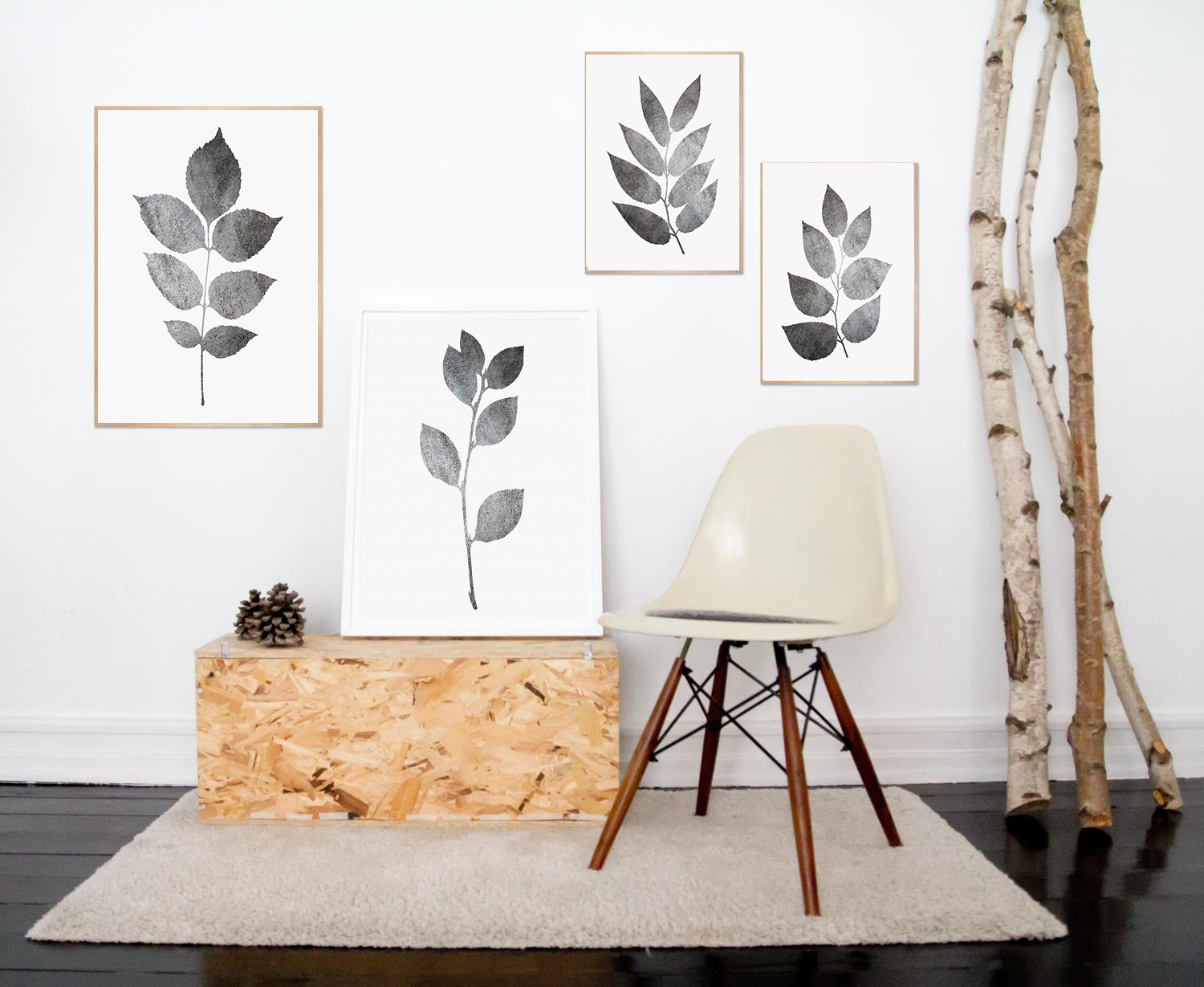 Plant Wall Art, Gray Wall Art, Leaves Wall Art, Grey Leaf example image 3