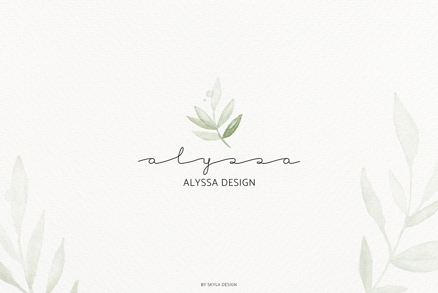 Premade Logo bundle watercolor greenery templates example image 10