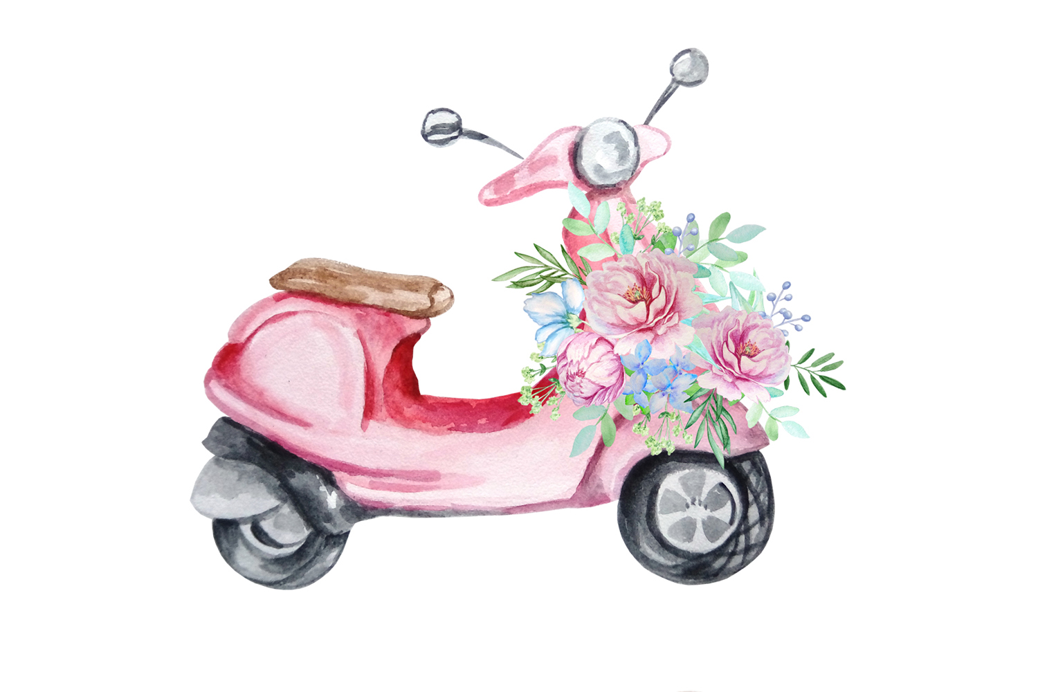 Watercolor Retro Red Moped Clipart Set example image 5
