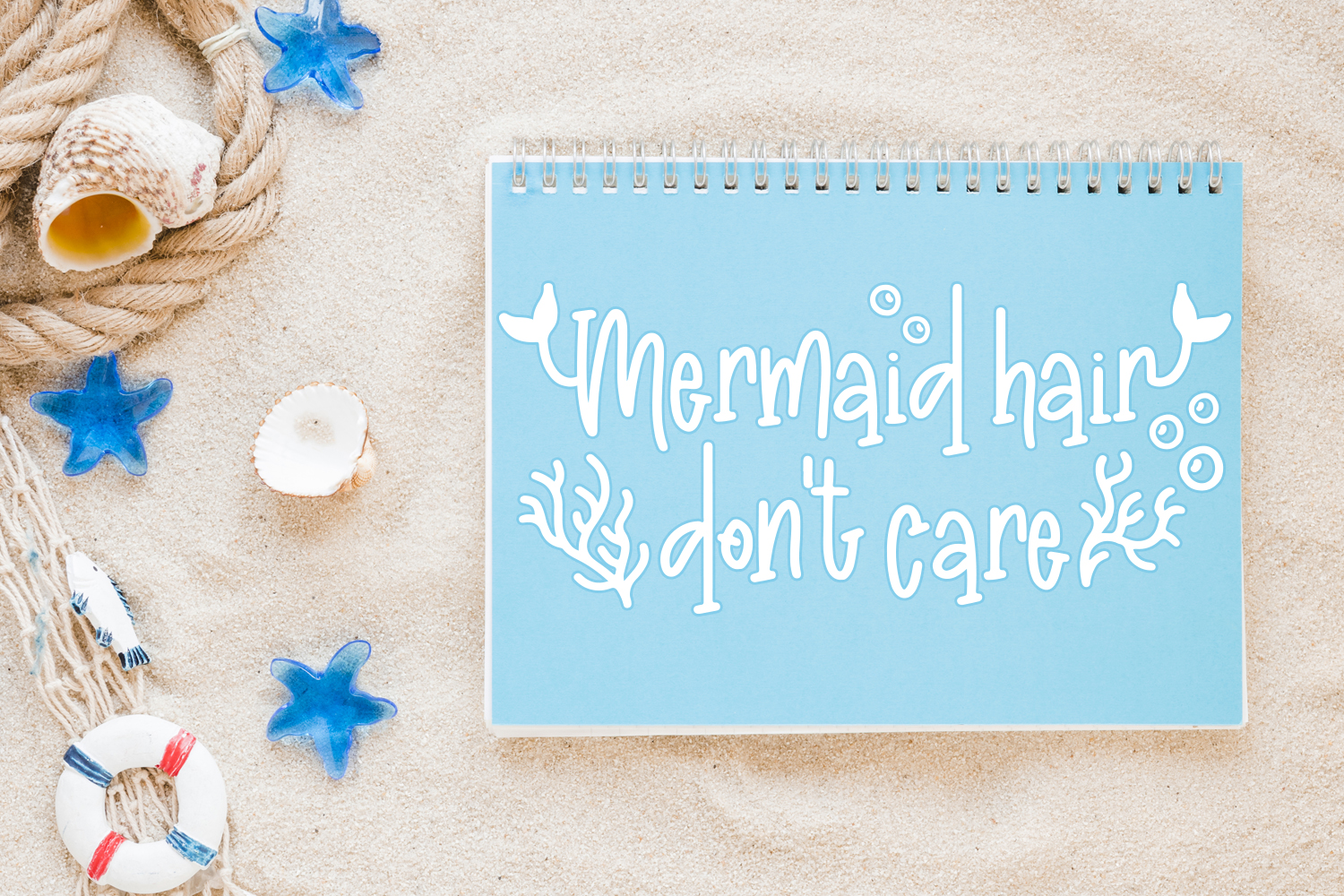 Madison's tail - A mermaid font plus nautical doodles example image 7