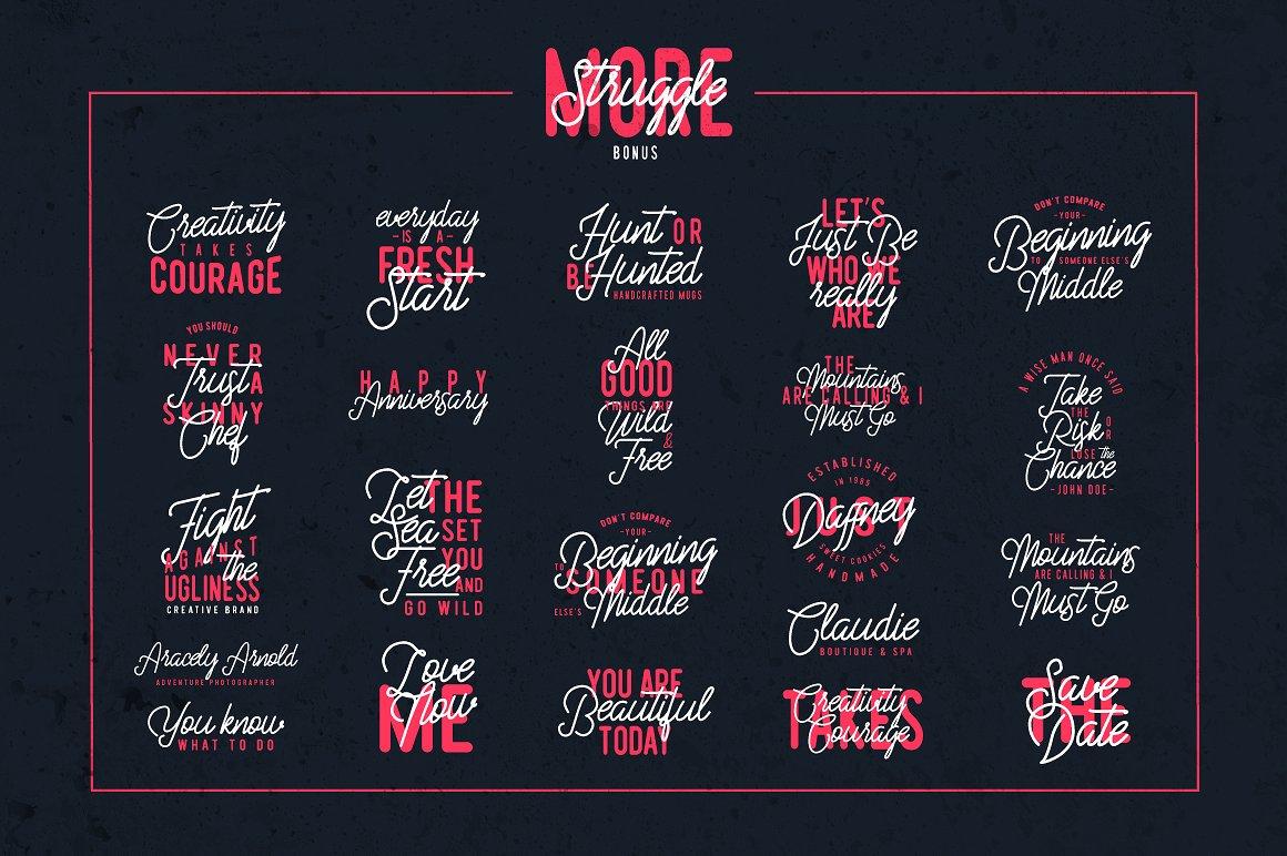 Struggle More - Script & Sans Font / Font Logo example image 4