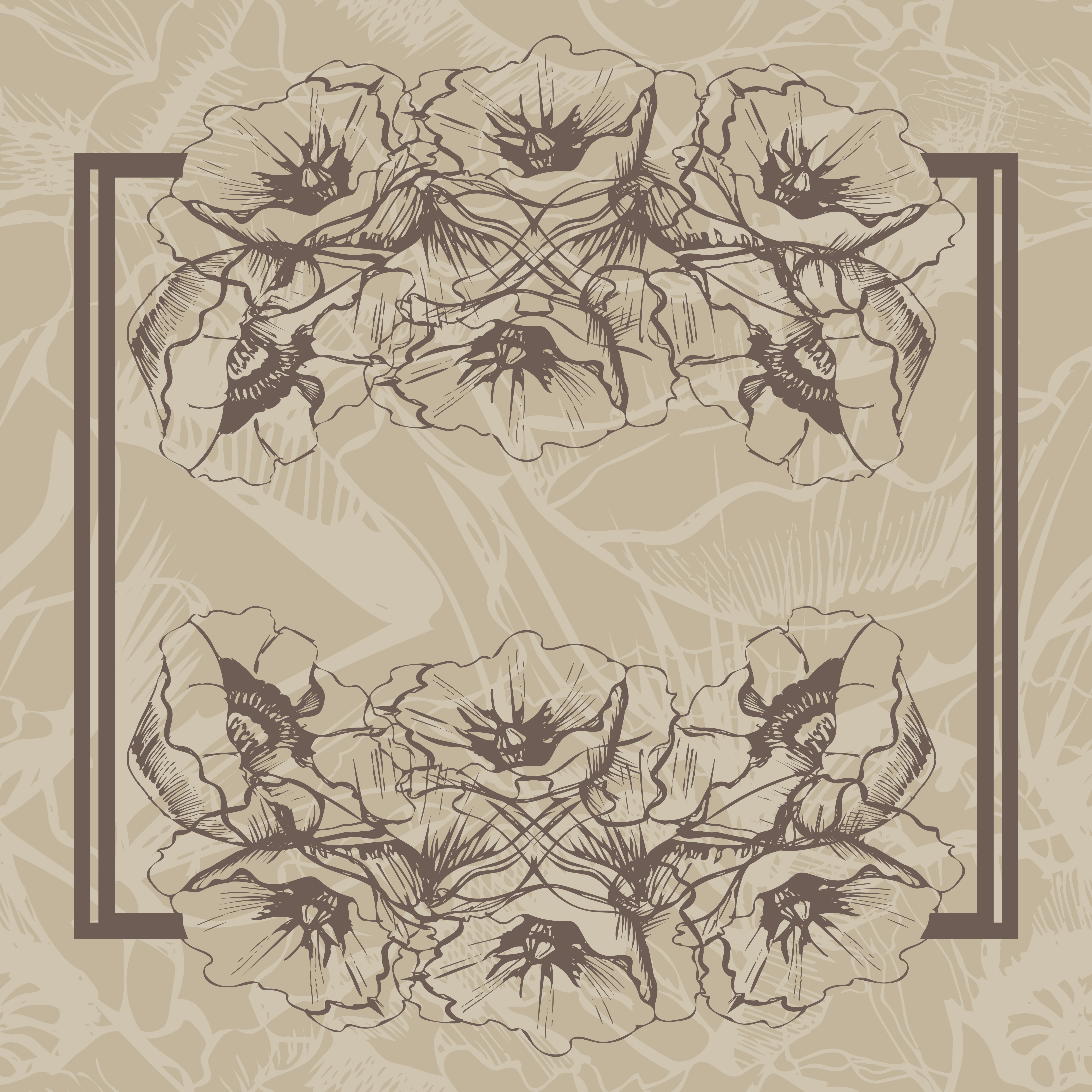 Bundle with sketches of poppy flowers. Modern and retro style.  example image 5