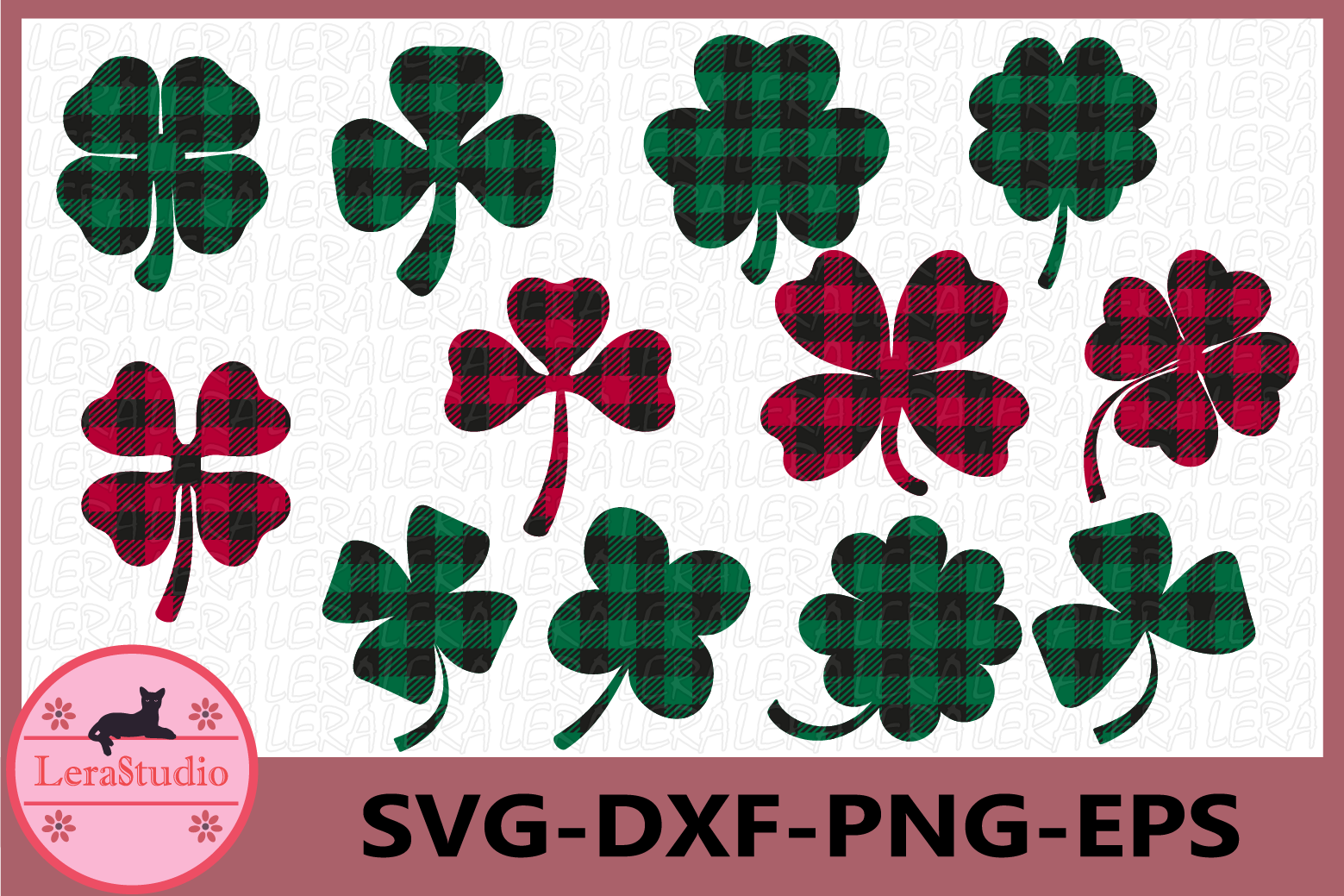 Clover Buffalo Plaid Svg, Shamrock SVG, Patricks Day Svg example image 1