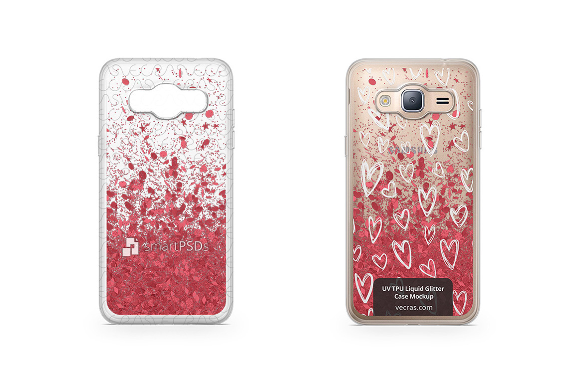 Samsung Galaxy J3 2016 UV TPU Liquid Glitter Case Mockup example image 1