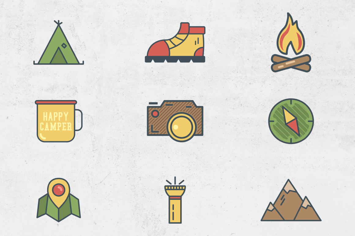 Camping Flat Icons example image 2