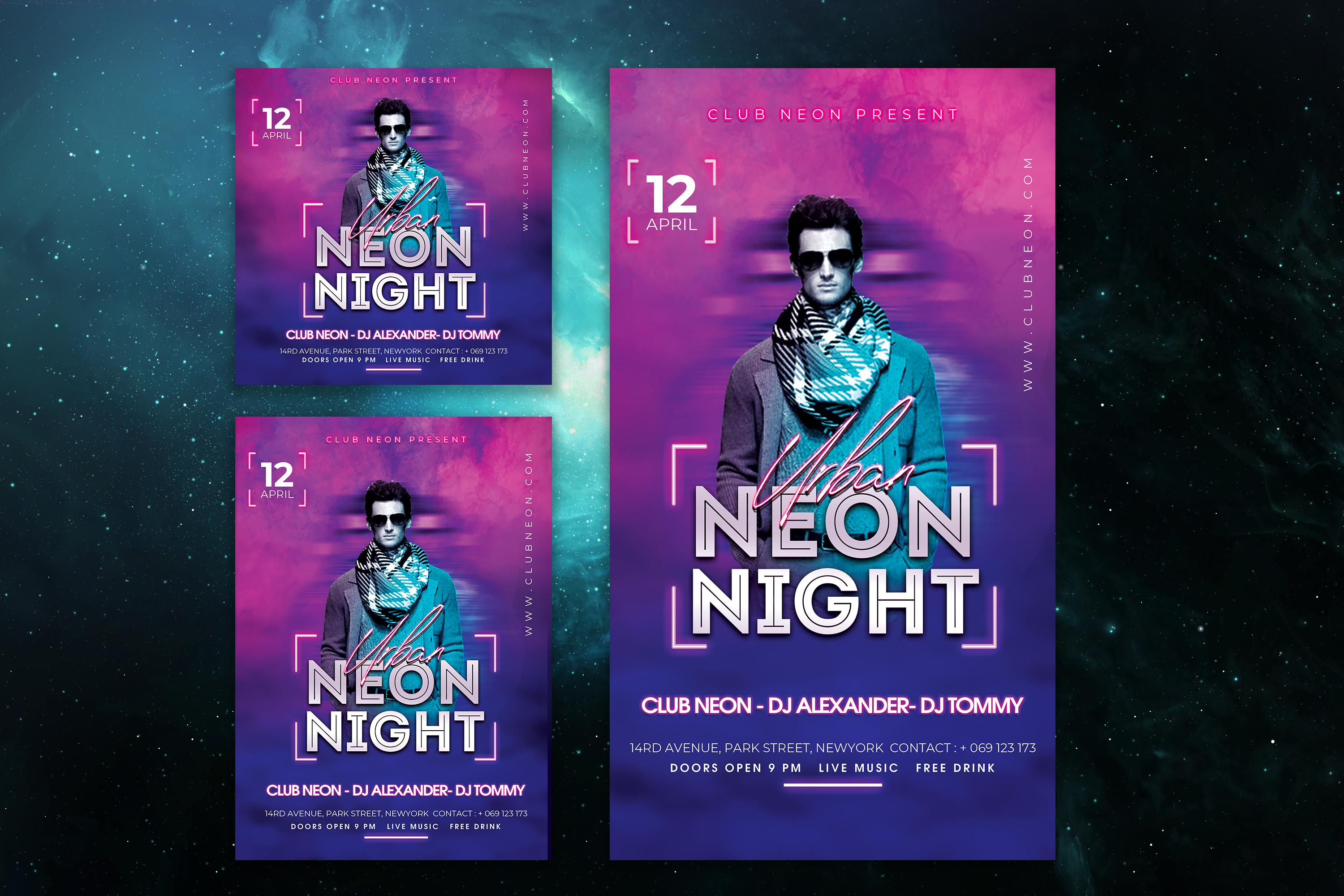 Neon Night Party Flyer Template example image 3