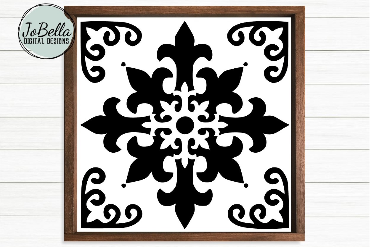 Spanish Tile 2 SVG, Stencil Template and Printable example image 1