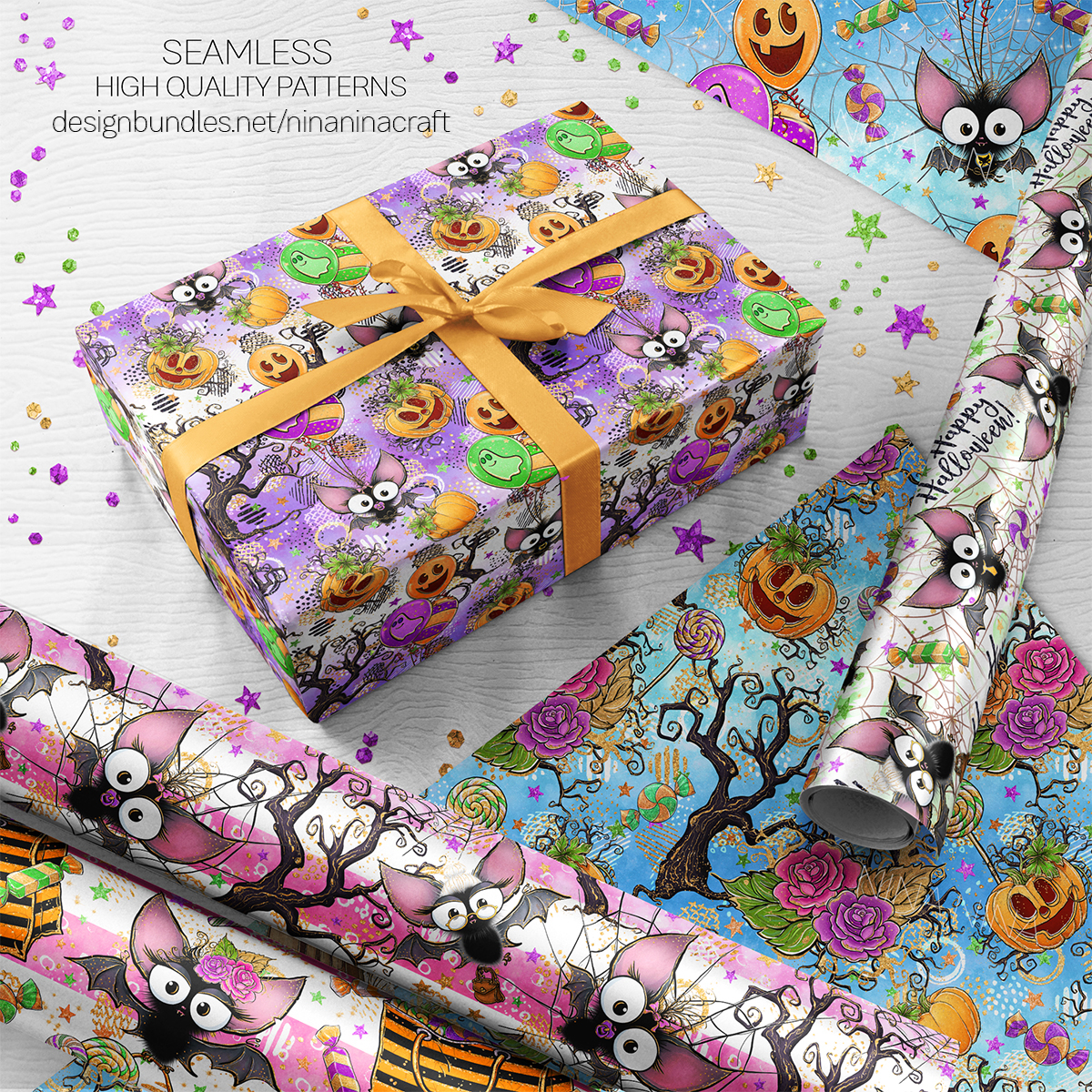 Cute Halloween Seamless Patterns, Bats Digital Papers Pack example image 9