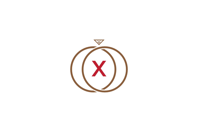 x letter ring diamond logo example image 1