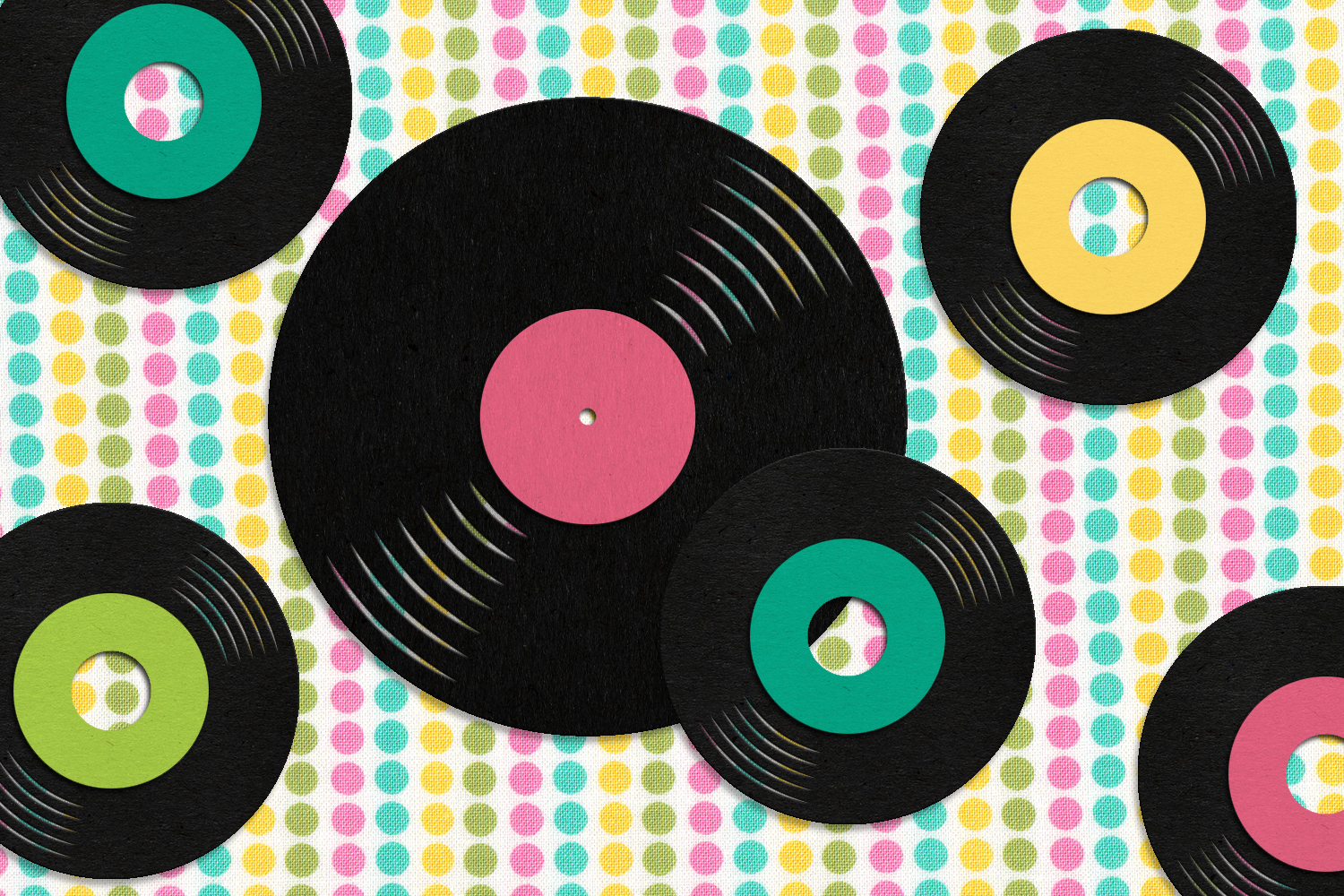 LP Album and 45 Record SVG File Cutting Template example image 1